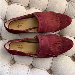 Bass & Co. Burgundy Suede Fringe Flats VGUC